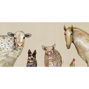 GreenBox Art Canvas Cattle Dog and Crew 36x18