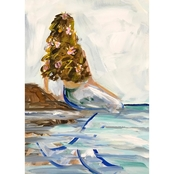 GreenBox Art Canvas Mermaid In the Sea, Brunette 10x14