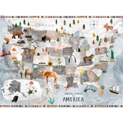 GreenBox Art Canvas Watercolor USA Map Bright 24x18