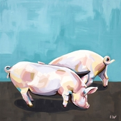 GreenBox Art Canvas Farm Piggies 14 x 14