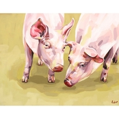 GreenBox Art Canvas Farm Piggies Close Up 18x14