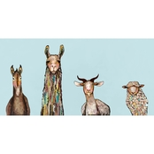 GreenBox Art Canvas Donkey, Llama, Goat, Sheep Sky Blue 36 x 18