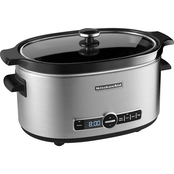 KitchenAid 6 Quart Slow Cooker with Solid Glass Lid