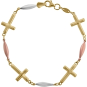 10K Tricolor High Polished Puff Cross  Bracelet with Lobster Clasp