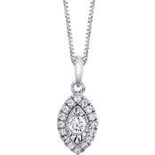 10K White Gold 1/6 CTW Diamond Marquise Shape Halo Pendant