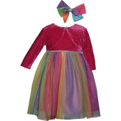 Blueberi Boulevard Little Girls Special Occasion Dress with Shrug Head Bow