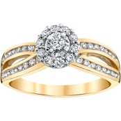 14K Two Tone Gold 1/2 CTW Halo Engagement Ring, Size 7