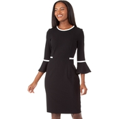 Calvin Klein Bell Sleeved Sheath Dress With Contrast Piping