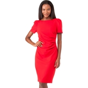 Calvin Klein Solid Sheath Dress With Side Ruche