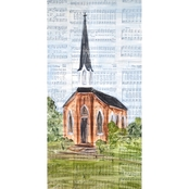 Greenbox Art 12 x 24 Tall Brown Church Canvas Wall Art