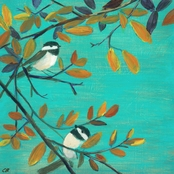 Greenbox Art 18 x 18 Two Chickadees Canvas Wall Art
