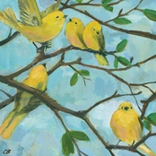 GreenBox Art Five Yellow Warblers Canvas Wall Art 18 x 18
