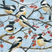 Greenbox Art 18 x 18 Seven Chickadees Canvas Wall Art
