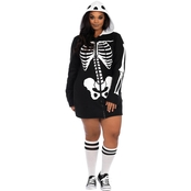 Leg Avenue Plus Size Cozy Skeleton Zip Front Hoodie Dress