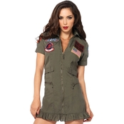 Leg Avenue Women's Top Gun Flight Dress One Size, XL (14-16)