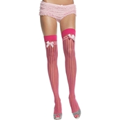 Leg Avenue Lycra Opaque Stripe Satin Bow Sheer Stockings