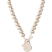 Lauren Ralph Lauren Goldtone Beaded Logo Padlock Toggle Necklace