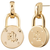 Lauren Ralph Lauren 18K Gold Plated Logo Padlock Drop Earrings