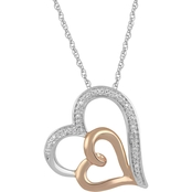 Hallmark Sterling Silver and Pink Gold Over Silver Diamond Accent Heart Pendant