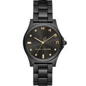 Marc Jacobs Women's Henry Three Hand Black Stainless Steel Watch