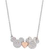 Disney Sterling Silver Cubic Zirconia Necklace with Rose Gold Plated Heart 18 in.