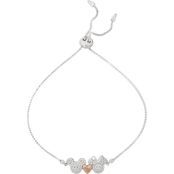 Disney Sterling Silver Cubic Zirconia Lariat Bracelet with Rose Gold Plated Heart