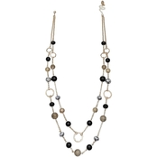 Jules B. Black Masquerade Double Row Necklace 27 - 30.5 + 3 in. ext.