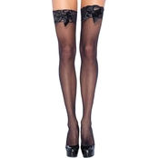 Leg Avenue Women's Thigh High Lace Top Stocking With Satin Bow