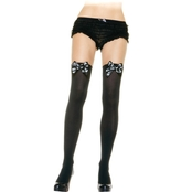 Leg Avenue Women's Opaque Thigh High Stockings with Skull Bow
