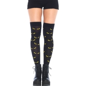 Leg Avenue Women's Spooky Eyes Printed Opaque Thigh High Stockings
