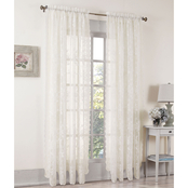 S. Lichtenberg Alison Lace Curtain Panel and Valance, Ivory 58x84