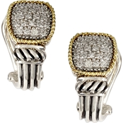 Effy Sterling Silver and 18K Yellow Gold 1/10 CTW Diamond Earrings