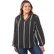 AGB Plus Size Mandarin Striped Shirt