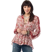 Lucky Brand Print Peasant Puff Sleeve Top