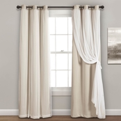 Lush Decor Grommet Sheer Panels with Insulated Blackout Lining 2 pk. Curtains Set