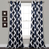 Lush Decor Wellow Ikat Room Darkening 52 x 84 in. 2 pk. Curtain Panel Set