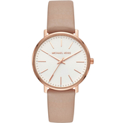 Michael Kors Women's Pyper 3 Hand Leather Watch MK2748
