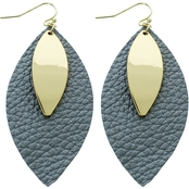 Panacea Leather Marquise Earrings with Goldtone Metal Charm