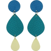 Panacea Double Drop Leather Teardrop Earrings