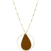 Panacea Leather Teardrop Necklace with Gold Hoop