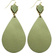 Panacea Metallic Leather Teardrop Earrings with Faux Drusy