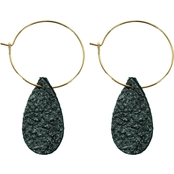 Panacea Metallic Leather Teardrop Hoop Earrings