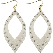 Panacea Leather Metallic Open Marquise Earrings with Crystals
