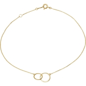 14K Yellow Gold Interlocked Circles Anklet