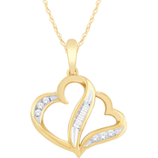 10K Yellow Gold 1/8 CTW Diamond Love Honor Cherish Heart Pendant