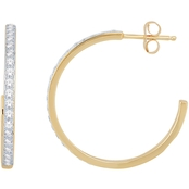 10K Yellow Gold 1/2 CTW Diamond Lover Cherish Hoop Earring