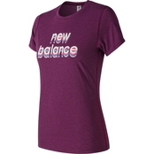 New Balance Heather Tech Graphic Crewneck Top