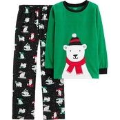 Carters Little Boys Sledding Bear 2 pc. Pajama Set