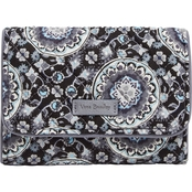 Vera Bradley Iconic RFID Riley Compact Wallet, Charcoal Medallion