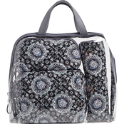 Vera Bradley Iconic 4 Pc. Cosmetic Set, Charcoal Medallion